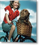 1940s 1950s Smiling Teen Girl Riding Metal Print