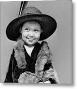 1940s Girl In Oversized Velvet Dress Metal Print