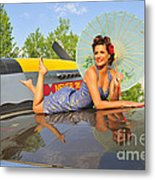 1940s Style Pin-up Girl With Parasol Metal Print