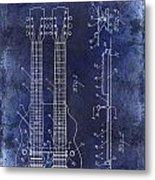 1941 Gibson Electric Guitar Patent Drawing Blue Metal Print