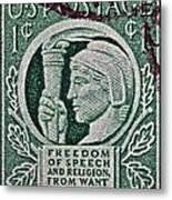 1943 Freedom Of Speech And Religion Stamp Metal Print