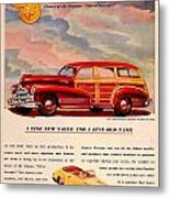 1946 - Pontiac Woodie Station Wagon And Convertible Advertisement - Color Metal Print