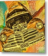 1948 Chev Gold Tie Dye Tilt Car Art Metal Print