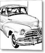 1948 Chevrolet Fleetmaster Antique Car Illustration Metal Print
