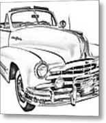 1948 Pontiac Silver Streak Convertible Illustration Metal Print