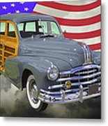 1948 Pontiac Silver Streak Woody And American Flag Metal Print