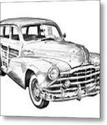 1948 Pontiac Silver Streak Woody Illustration Metal Print