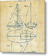 1948 Sailboat Patent Artwork - Vintage Metal Print by Nikki Marie Smith