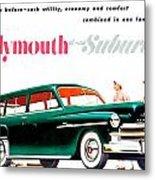 1950 - Plymouth Suburban Station Wagon Automobile Advertisement - Color Metal Print