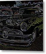 1950 Ford Coupe Neon Glow Metal Print