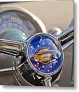 1950 Oldsmobile Rocket 88 Steering Wheel Metal Print by Jill Reger
