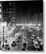 1950s 1953 Night Scene Of Chicago State Metal Print
