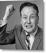 1950s 1960s Portrait Of Angry Man Metal Print