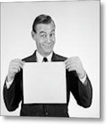 1950s 1960s Smiling Man Funny Facial Metal Print