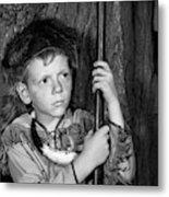 1950s Boy Wearing Raccoon Skin Hat Metal Print