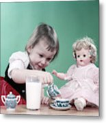 1950s Little Girl Toddler And Baby Doll Metal Print