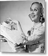 1950s Proud Smiling Woman Housewife Metal Print