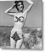 1950s Smiling Young Woman Kneeling Metal Print
