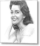 1950s Starlet Pencil Portrait Metal Print
