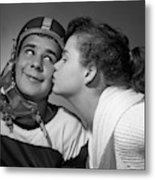 1950s Teen Girl With Pony Tail Kissing Metal Print