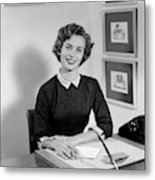 1950s Woman Sitting At Information Desk Metal Print