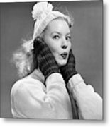 1950s Young Woman Pursing Lips Hands Metal Print