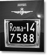 1951 Ferrari 212 Export Berlinetta Rear Emblem - License Plate -0775bw Metal Print