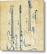 1953 Fender Bass Guitar Patent Artwork - Vintage Metal Print