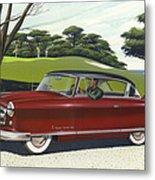 1953 Nash Rambler Car Americana Rustic Rural Country Auto Antique Painting Red Golf Metal Print