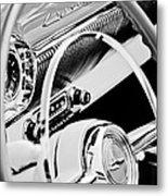 1954 Chevrolet Belair Steering Wheel Emblem -1535bw Metal Print
