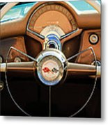 1954 Chevrolet Corvette Convertible  Steering Wheel Metal Print by Jill Reger