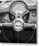 1954 Chevrolet Corvette Steering Wheel -382bw Metal Print