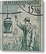1954 Czechoslovakian Construction Worker Stamp Metal Print