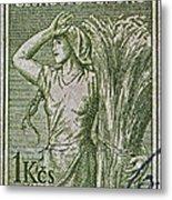 1954 Czechoslovakian Farm Woman Stamp Metal Print