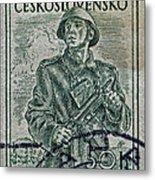 1954 Czechoslovakian Soldier Stamp Metal Print