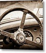 1954 Jaguar Xk120 Roadster Steering Wheel Emblem Metal Print