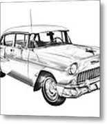 1955 Chevrolet Bel Air Illustration Metal Print