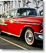 1955 Chevy Bel Air Down The Side - Red And White Metal Print