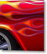 1955 Chevy Pickup With Flames Metal Print