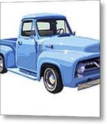 1955 Ford F100 Blue Pickup Truck Canvas Metal Print