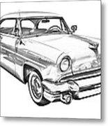 1955 Lincoln Capri Luxury Car Illustration Metal Print