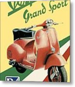 1955 - Vespa Grand Sport Motor Scooter Advertisement - Color Metal Print