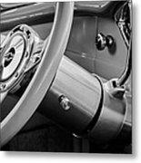 1956 Chevrolet 210 2-door Handyman Wagon Steering Wheel Emblem -189bw Metal Print