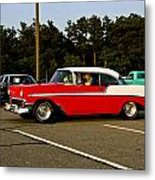 1956 Chevy Bel Air Red And White Metal Print