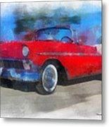 1956 Chevy Car Photo Art 01 Metal Print