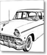 1956 Ford Custom Line Antique Car Illustration Metal Print