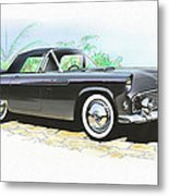 1956 Ford Thunderbird  Black  Classic Vintage Sports Car Art Sketch Rendering         Metal Print
