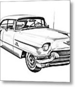 1956 Sedan Deville Cadillac Car Illustration Metal Print