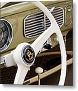 1956 Vw Convertible Steering Wheel Metal Print