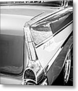 1957 Chevrolet Belair Coupe Tail Fin -019bw Metal Print